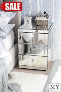 Bon Image Is Loading TOUGHENED MIRROR Bedside Tables 3 Drawers LUCIA PAIR