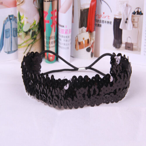 Women Glitter Sequin Headband Elastic Hairband Head Hoops Hair Supplies