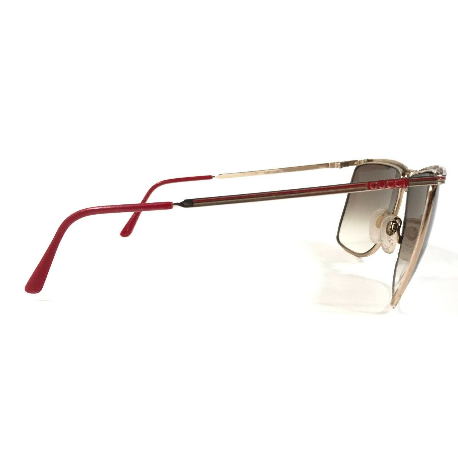 Vintage Gucci Sunglasses 70s 80s Gold Red Logos B… - image 3