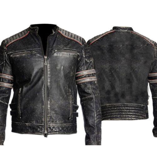 Rétro Hommes/'s vintage effet vieilli motard moto Veste en cuir noire