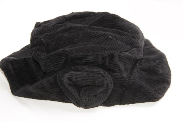 db97256a061 Beautiful Women Corduroy Black Hat with Corduroy Flower in Front (S281)
