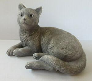 Dekoartikel ° hübsche Katze Beton grau ca. 27 cm Gartenfigur Tier Dekofigur Cat
