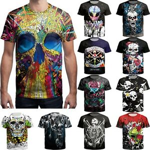Fashion-Men-039-s-3D-Printed-Rose-Skull-T-shirts-Funny-Casual-Short-Sleeve-Tee-Tops