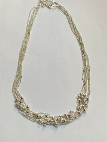 Gorgeous Sterling Silver Necklace Multi Layer With