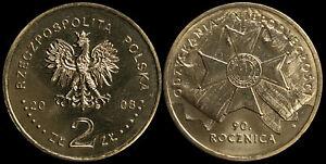 Pologne. 2 Zloty. 2008 (Pièce KM#Y.650 Neuf) 90e Anniversaire de l'Indépendance
