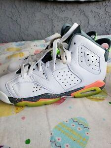 7ca66b1f3da Jordan 6 Retro Hasta Big Kids 384665-114 White Ghost Green Mango ...