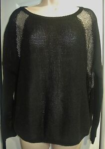 Sweater Knit black Silver 79 Threaded Dkny Top M Shimmer Orig 50 wXYqUI
