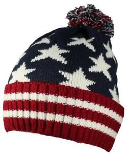 3fa4118851b Image is loading Best-Winter-Hats-American-Americana-Flag-Cuffed-Beanie-