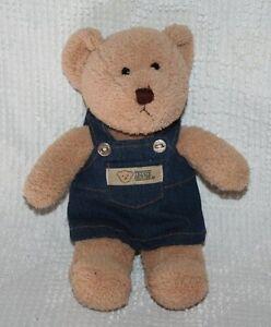 "CUTE Teddy House Soft Tan Beanie Bear 12"" with denim jumper dress"