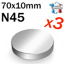 LOT DE 3 SUPER AIMANT MAGNET NEODYM DISQUE N45 - 70x10mm - 230Kg