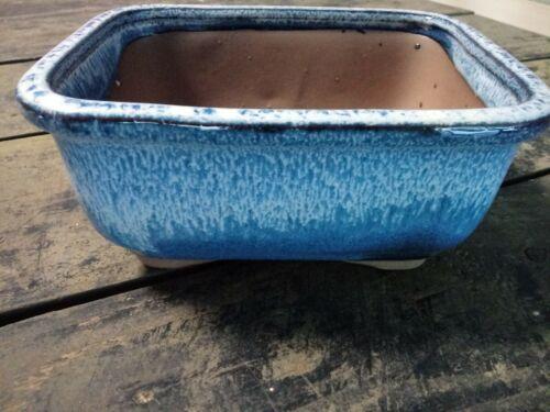 "Bonsai Pot Rectangle Round Corners Marbled Blue White Glaze Ceramic 6/"" pot."