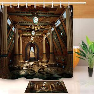 Waterproof Fabric Egyptian Ancient Temple Shower Curtain Liner Bathroom Mat Hook