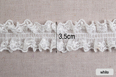 "1yds Broderie Anglaise gathered eyelet lace trim 1.4"" mesh  YH759 laceking2013"