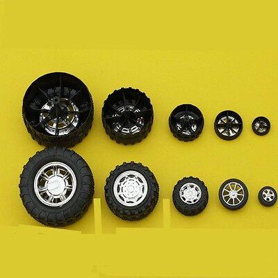 10pcs x Plastic toys wheel black wheel four-wheels drive model DIY accessories