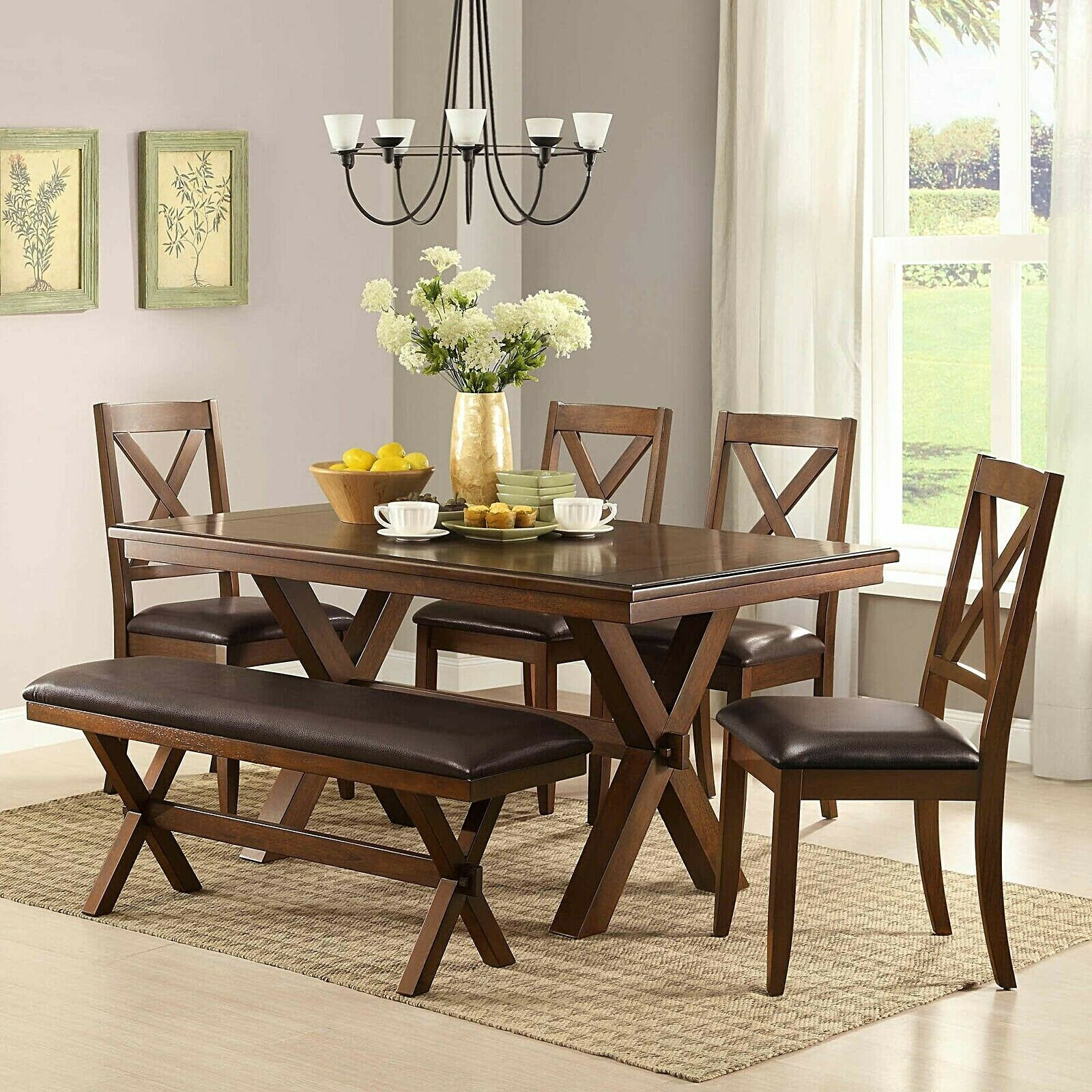 Rustic 6 Pc Dining Set Table Chairs Bench Padded Wood Brown Farmhouse  Kitchen