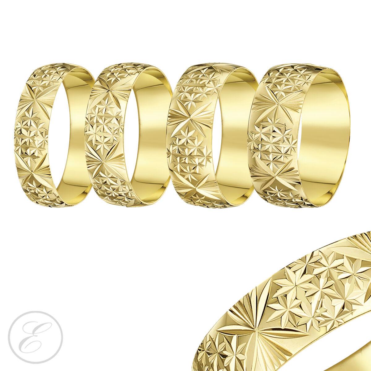 18ct yellow Anello gold Pesante Sagomato a D Taglio Diamante Fede Nuziale