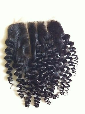 "Mongolian Afro Kinky 100% Human Hair 3-Way Parting 4 x 4"" Closure #1B 8"""