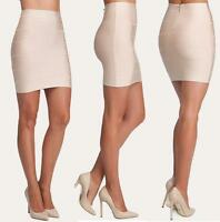 Bebe Beige Bandage Solid Stretch Skirt $79 Medium M