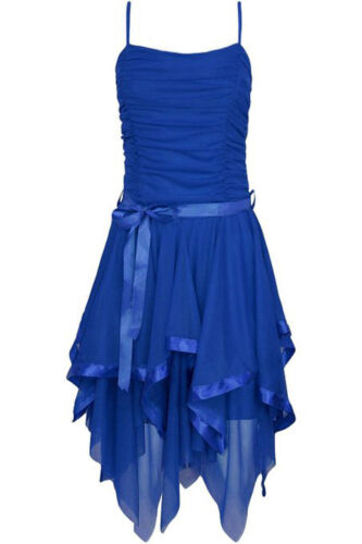 Womens Ladies Strappy Chiffon Asymmetric Lace Party Evening Prom Wedding Dress