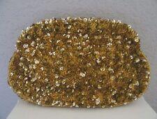 Vintage Nettie Rosenstein Gold Sequin Beaded Clutch Purse Hand Bag