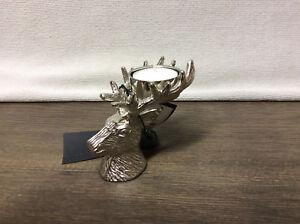 Teelichthalter kerzenleuchter kerzenständer geweih hirsch bronze