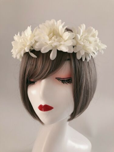 Women Creamy White Flower Girl Boho Party Wedding Crown hair headband Garland