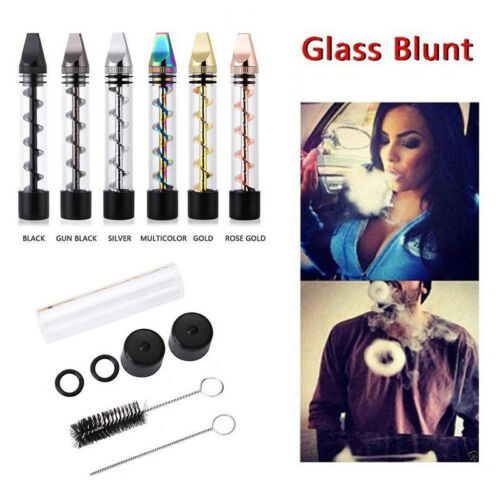 New Design 2 Serie Smoking Twisty Glass Blunt Pipe Obsolete With Cleaning Kit JG