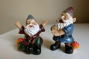 Miniature-Gnomes-Set-of-2-Gnome-Village-Garden-Nome-2-5-in-T-Mini-Sleepy-Elves