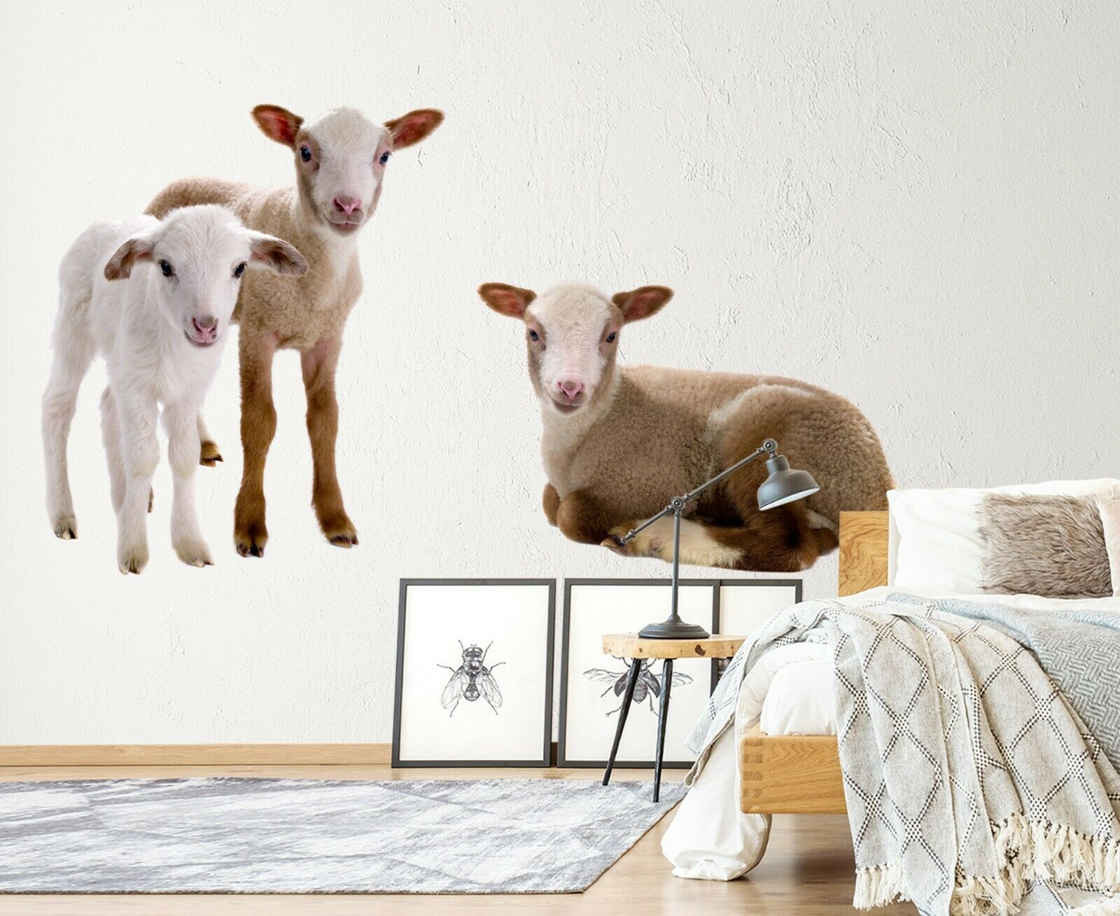 3D Sheep O122 Animal Wallpaper Mural Poster Wall Stickers Decal Ange