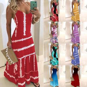 Women Slim Evening Party Long Wrap Dress Casual Print Suspender Dress Ball Gown