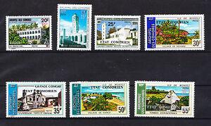 Comores-republique-lot-de-7-paysages-de-1975-surchargee-poste
