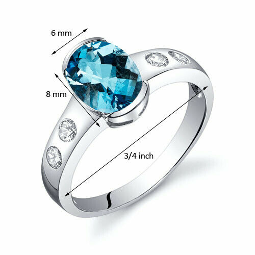 1.50 ct Swiss Blue Topaz Half Bezel Solitaire Ring Sterling Silver