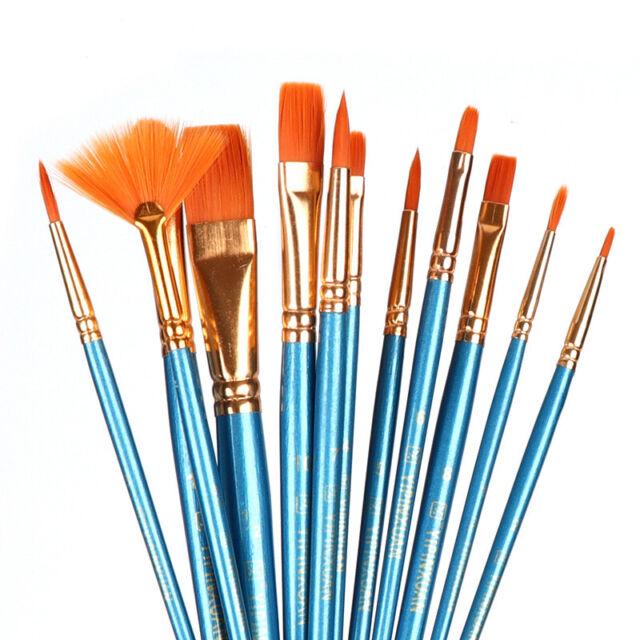 Artist Paint Brush Set Nylon Hair Watercolor Acrylic Oil Painting Supplies Art