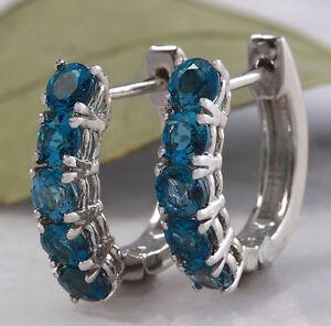 2.00 CT NATURAL London Blue Topaz 14K Solid White Gold Ring
