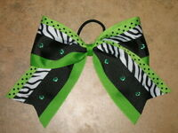 zebra Dots Bling Green Cheer Bow Pony Tail 3 Ribbon Girls Cheerleading