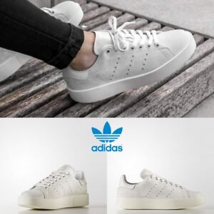 buy online d1266 aa2b4 Image is loading Adidas-Original-Stan-Smith-Bold-Sneakers-White-White-