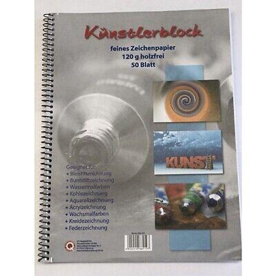50 Blatt mit Spirale holzfrei Künstlerblock DIN A4 120g//qm