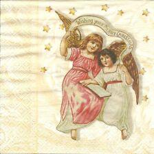 3 Servietten Napkins Winter Weihnachten Engel Wishing you a merry Chrismas #315