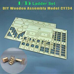 1-35-DIY-Holzmodell-CY734-Leiter-Kit-Tank-Fabrik-Garage-Werkstatt-Szenen-Puzzle