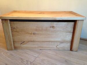 Details About Stained Wooden Toy Boxchest Handmade Pine Blanket Box Ottoman Safety Hinge