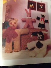 Easy Knit Playmates Knitting Pattern - Rabbit, Bear, Dog And Panda
