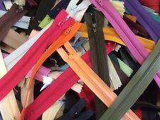 "Lot of 100 Assorted Color 7"" Nylon Zippers YKK, Talon, SNS, etc"