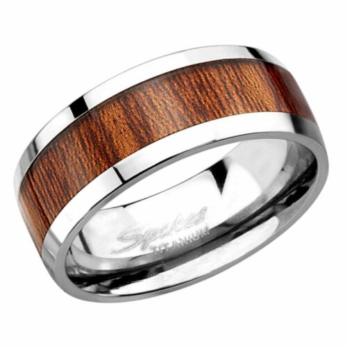 Titanium Wood Inlay Ring Mens Casual Rings Wooden Wedding Band 8mm Size 9-12