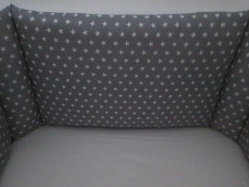 Cushi cots cot bumper boys white stars set on silver grey new