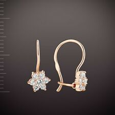 Russische Rose Rotgold 585  Kinder-Ohrringe mit CZ. Hakenverschluss.