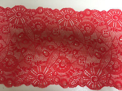 6.5inch//165mm Vivid Red Art Deco Design Double Edge Stretch Flat Lace Trimming