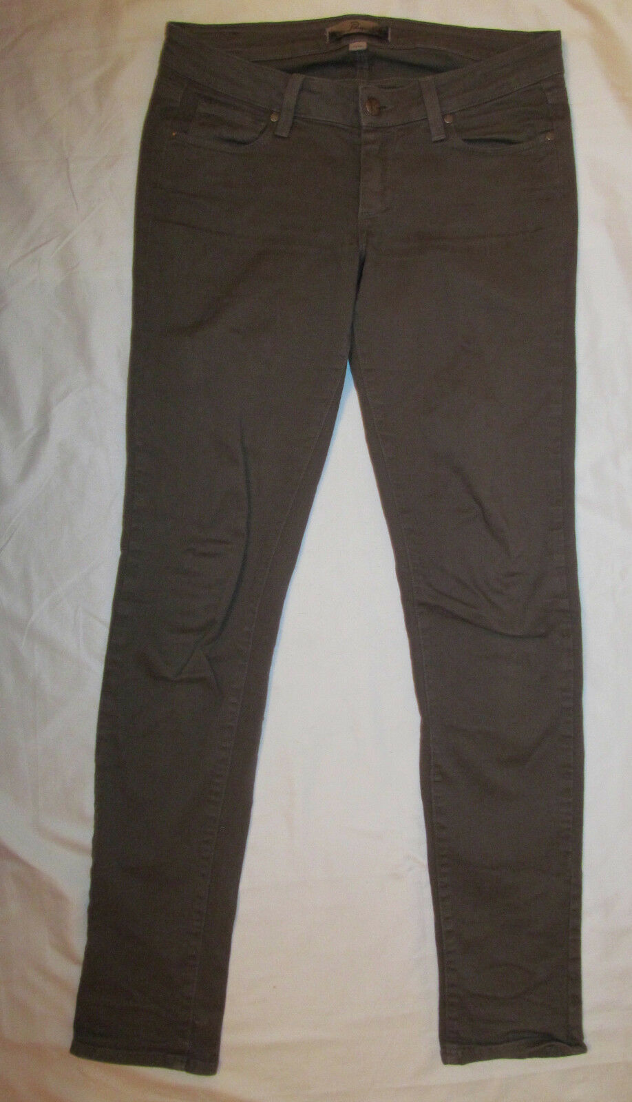 PAIGE PEG SKINNY sateen twill GREY taupe very strtchy jeans 27