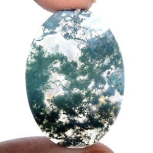 Cts-29-95-Natural-Landscape-Moss-Agate-Oval-Cabochon-Loose-Gemstone