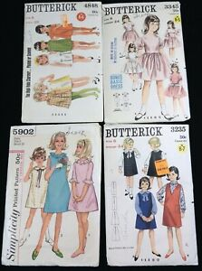 #2 Mixed LOT 4 Vtg 1960s Jumper Party Dress SEWING PATTERNS Girl Size 6