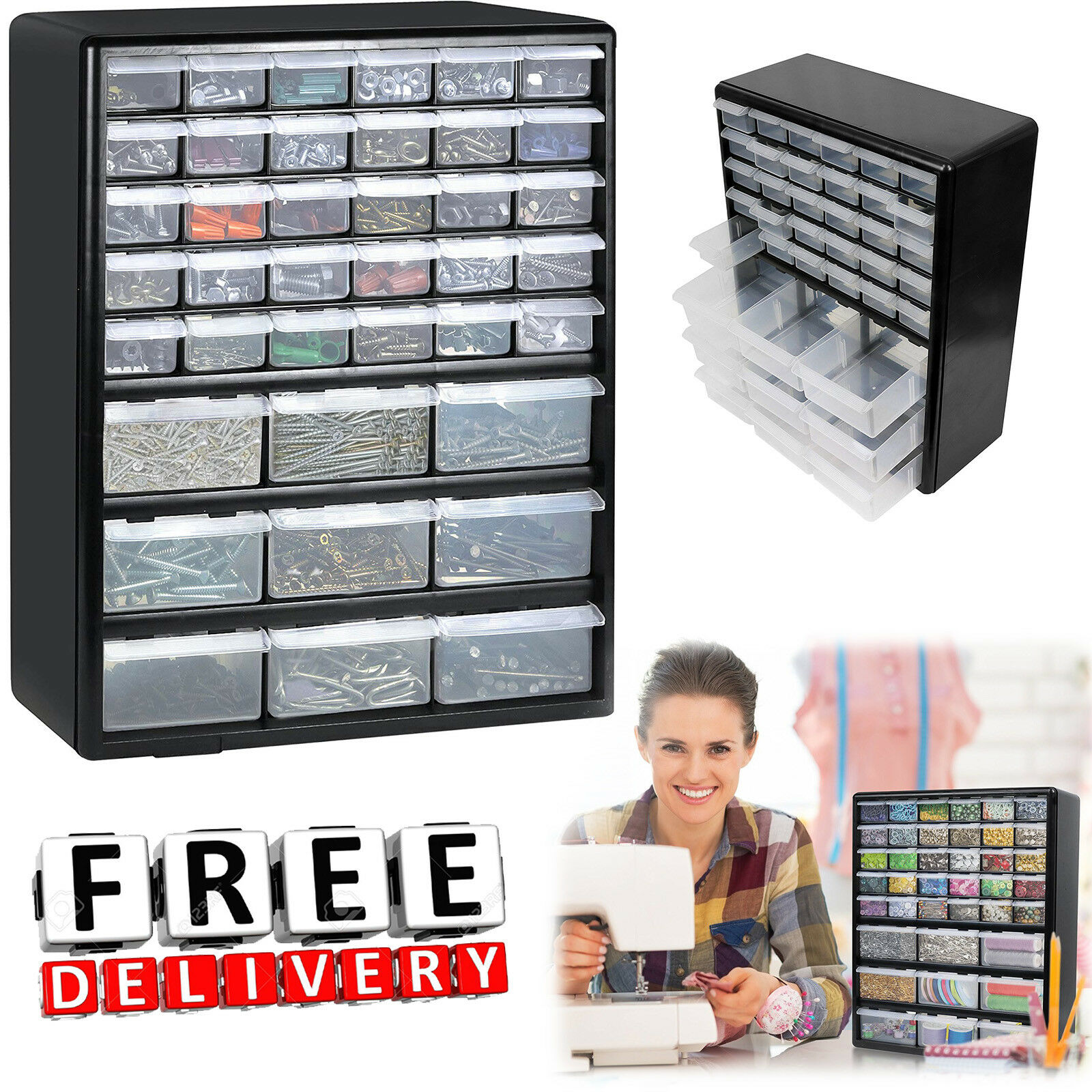 42 Multi Drawers Bin Rack Parts Organiser Storage Cabinet Toolcraft Box wall